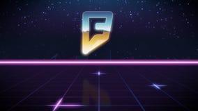 retro designsymbol för synthwave av foursquare stock illustrationer