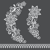 Retro floral lace half wreath  single vector pattern set - ornamental lace design collection, retro openwork background vector illustration