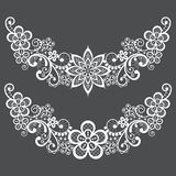 Vitnahe lace half wreath single vector pattern set - floral lace design collection, retro openwork background royalty free illustration