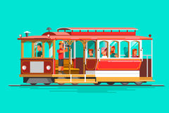 Retro detailed vector cable car, 3d view, isolated. Transit vintage graphic element on cable rail car Royalty Free Stock Images