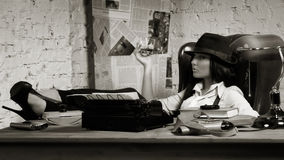 Retro detective in the detective agency Stock Photography