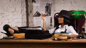 Retro detective in the detective agency Royalty Free Stock Photo