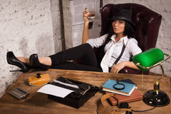 Retro detective in the detective agency Royalty Free Stock Images