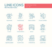 Retro Devices - line design icons set Royalty Free Stock Photos