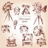 Retro Devices Sketch Royalty Free Stock Photography