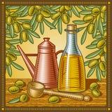 Retro di oliva dell'olio vita ancora Fotografie Stock