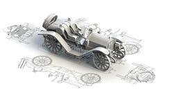 Retro diagrammi dell'automobile con il modello 3d Immagini Stock Libere da Diritti