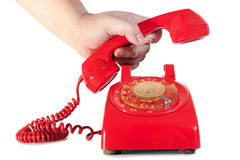 Retro dial style red house telephone Royalty Free Stock Images