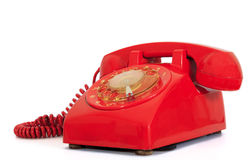 Retro dial style red house telephone Royalty Free Stock Photo