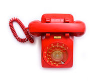 Retro dial style red house telephone Royalty Free Stock Photos