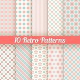 Retro different seamless patterns. Vector. 10 Retro different seamless patterns. Vector illustration for beauty design. Pink, white and blue colors. Endless Stock Photography