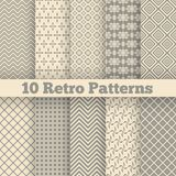 Retro different seamless patterns. Vector. 10 Retro different seamless patterns. Vector illustration for beauty design. Shades of beige color. Endless texture Royalty Free Stock Photo
