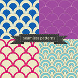 Retro different seamless patterns Royalty Free Stock Photo
