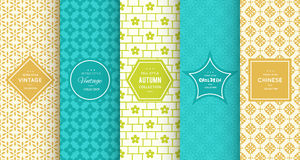 Retro different vector seamless patterns Stock Image