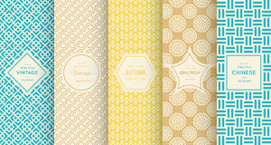 Retro different vector seamless patterns Stock Photo