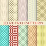 Retro different vector seamless patterns (tiling). Royalty Free Stock Images
