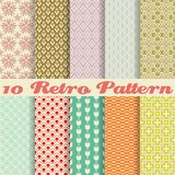 Retro different vector seamless patterns (tiling). 10 Retro different vector seamless patterns (tiling). Endless texture can be used for wallpaper, pattern Stock Photography