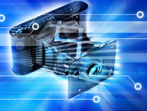 Retro Digital Camera. A montage with an old camera and a modern blue digital circuit board background Royalty Free Stock Photography
