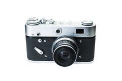 Retro digitale die fotocamera op wit wordt geïsoleerd stock afbeelding