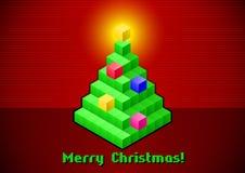 Retro- digitale Karte des Weihnachtsbaums Stockfoto
