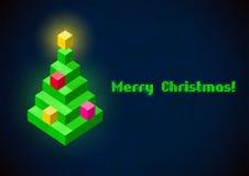 Retro- digitale Karte des Weihnachtsbaums Stockbild