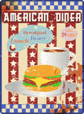 Retro diner enamel sign Royalty Free Stock Images