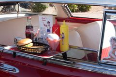 Retro Diner food tray. Henderson,Nevada,United States 9/24/2010:  Vintage Drive in car tray with classic food items stock photo