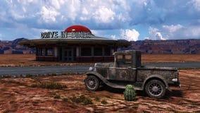 Retro Diner Illustratie van Route 66 Stock Afbeelding