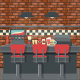 Retro diner interior. Vector for your ideas Royalty Free Illustration