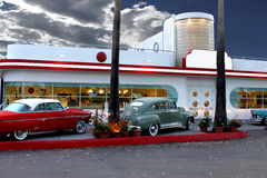 Retro diner in Laguna Beach. Classic automobiles outside retro diner in Laguna Beach, California, U.S.A Royalty Free Stock Images