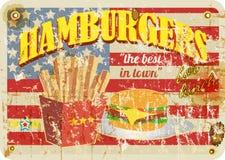 Retro diner sign, hamburgers sign,. Grungy style, vector illustration vector illustration
