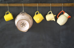 Retro dinnerware and a colander Royalty Free Stock Photography