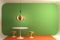 Retro dinning room. A colorful retro styled diining room. With iconic mid XX century furniture. Coderch lamp and Saarinen´s tulip dinning.With enoguh free stock illustration