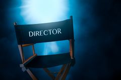 Retro director chair, high contrast image royalty free stock photos