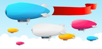 Retro dirigible and flags background. Stock Images