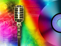 Retro disc and microphone. Rainbow colors Stock Photos