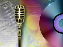 Retro disc and microphone. Disc retro collage, Colors cake Royalty Free Stock Images