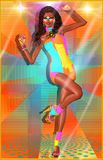 Retro disco dance girl. Fun, dancing, club girl in a retro outfit against an abstract multicolored background. Her makeup matches her dress and her dance moves Stock Photography