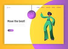 Retro Disco Dancer Character Website Template. Dancing Woman Lifestyle. Nightlife Event Concept for Website or Web Page. Evening Club Party. Flat Cartoon stock illustration