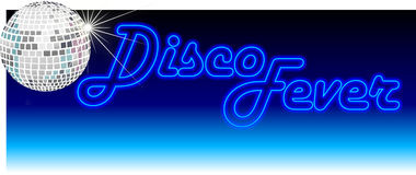 Retro Disco Fever Blue. Header illustration of a sparkling mirror ball with the neon light headline Disco Fever Stock Images