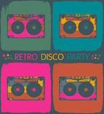 Retro disco party invitation stock illustration