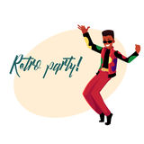 Retro disco party invitation, dancing black man in 80s clothes Stock Photography