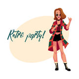 Retro disco party invitation, poster with woman in 90s clothes Royalty Free Stock Photo