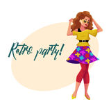 Retro disco party invitation, poster with woman in 80s clothes Royalty Free Stock Images