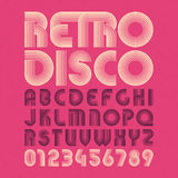 Retro disco style alphabet and numbers Royalty Free Stock Photography