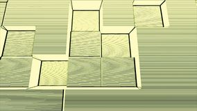 Retro disco style block with lines and noise motion background Yellow and white. Abstract 3d cubes moving up and down. Animation. Seamless loop Stock Photos