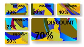 Retro discount cards, colorful digital Royalty Free Stock Photography