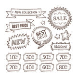 Retro discount labels set Stock Photography