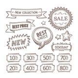 Retro discount labels set Stock Photography
