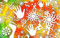 Retro disegno del sole e floreale Fotografia Stock